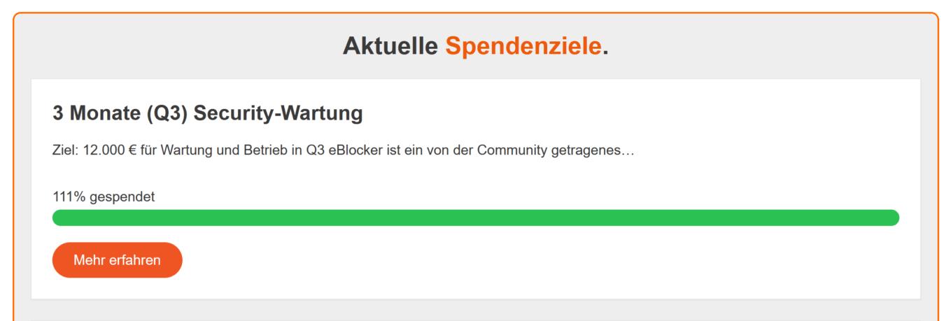 111 Prozent Spendenziel in Q3 erreicht