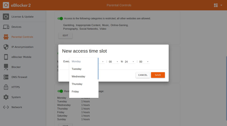 Access Time dialog box settings