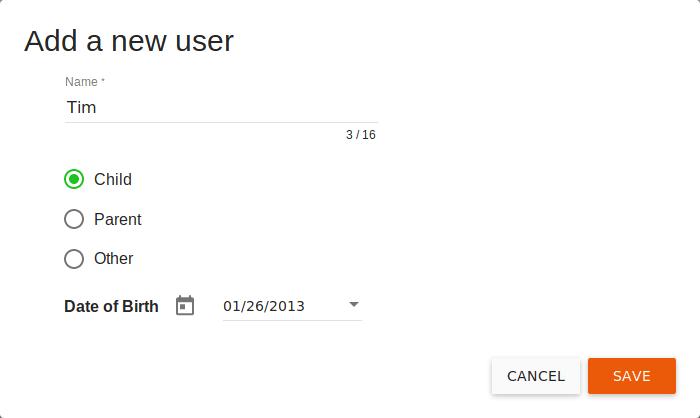 Add a new user dialog box